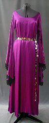 "Gown ID:G596, Gown Color:Fuschia pink/purple, Style:12th Century, Sleeve:Long drop sleeve with feathered gothic lace at edge, Trim:feathered gothic black lace, Neckline Type:Ballet, Fabric:Rayon Satin, machine wash and dry, Sleeve Length:30"", Back Length:55""."