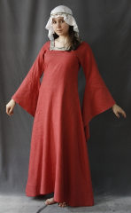 "Gown ID:G607, Gown Color:Dark Smoked Salmon, Style:12th Century, Sleeve:Long drop sleeve, Trim:Chevron Trim, Neckline Type:Squared with Chevron Trim at edge, Fabric:Linen, Sleeve Length:28.5"", Back Length:49""."