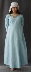 "Gown ID:G608, Gown Color:Sky Blue, Style:12th Century, Sleeve:Straight, Trim:Floral Medallio trim at edge, Neckline Type:Keyhole with Floral Medallio trim at edge, Fabric:Rayon Poly Twill, Sleeve Length:30.5"", Back Length:52""."