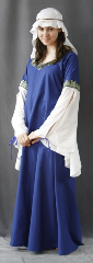 "Gown ID:G609, Gown Color:Colbalt Blue, Style:12th Century, Sleeve:Split recurve with Traditional Squares trim at bicep, Trim:Traditional Squares trim, Neckline Type:Squared sweetheart, Fabric:Cotton linen, Sleeve Length:32"", Back Length:54""."