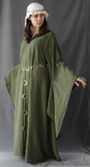 "Gown ID:G611, Gown Color:Olive Green, Style:12th Century, Sleeve:Long drop sleeve with bias tape at edge, Trim:black contrast fabric, Neckline Type:Keyhole with black constrast fabric, Fabric:Linen Tencel, Sleeve Length:30"", Back Length:51""."