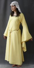 "Gown ID:G613, Gown Color:Sundrop, Style:12th Century, Sleeve:Long drop sleeve, Trim:Nordic Diamond wide trim, Neckline Type:Squared, Fabric:Polyester Corded Twill, Sleeve Length:31"", Back Length:52""."