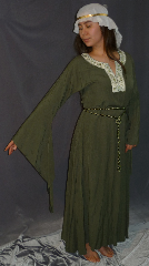 "Gown ID:G615, Gown Color:Stone Green, Style:12th Century, Sleeve:Long drop sleeve, Trim:on neckline, Neckline Type:keyhole with Elizabethan Floral trim at edge, Fabric:Linen Tencel, Sleeve Length:29.5"", Back Length:49""."