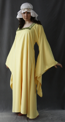 "Gown ID:G616, Gown Color:Sundrop Yellow, Style:12th Century, Sleeve:Long drop sleeve, Trim:Paisley Diamond trim, Neckline Type:Squared, Fabric:Polyester Corded Twill, Sleeve Length:31"", Back Length:53""."