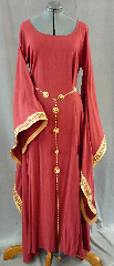 "Gown ID:G651, Gown Color:Maroon, Style:12th Century, Sleeve:Long drop sleeve with Rusty Diamonds trim at sleeve edge, Trim:Rusty Diamonds trim at edge, Neckline Type:Ballet, Fabric:Linen Tencel, Sleeve Length:30"", Back Length:56""."