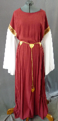 "Gown ID:G661, Gown Color:Dark Rusty Red, Style:12th Century, Sleeve:long Drop Sleeve in white polyester with Rusty Diamonds Trim at bicep, Trim:Rusty Diamonds Trim at bicep, Neckline Type:Scoop, Fabric:Tencel, Sleeve Length:31.5, Back Length:52""."