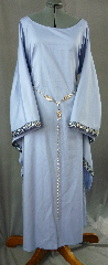 "Gown ID:G669, Gown Color:Cornflower Blue, Style:12th Century, Sleeve:Long Drop Sleeve with 2-Tone Blue Floral trim at edge, Trim:2-Tone Blue Floral, Neckline Type:Wide Portrait Neck, Fabric:Cotton Twill, Sleeve Length:33"", Back Length:56""."
