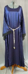 "Gown ID:G675, Gown Color:Blue/Black Shimmer, Style:12th Century, Sleeve:Long Drop Sleeve with black lace at edge, Trim:Black lace at sleeve edge, Neckline Type:Wide Portrait Neck, Fabric:Polyester Shimmer, Sleeve Length:32"", Back Length:55""."