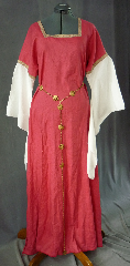 Gown ID:G677, Gown Color:Coral Red, Style:12th Century, Sleeve:Long Drop Sleeve in white cotton with <br>Yellow/Red Medallion Narrow trim at bicep, Trim:Yellow/Red Medallion Narrow trim at bicep, Neckline Type:Square, Fabric:Linen with Cotton Sleeves, Sleeve Length:30&quot;, Back Length:57&quot;.