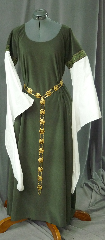 Gown ID:G683, Gown Color:Green, Style:12th Century, Sleeve:Long Drop Sleeve in white cotton with <br>Green Leaf Helix trim at bicep, Trim:Green Leaf Helix trim at bicep, Neckline Type:Scoop, Fabric:Polyester Moleskin, Sleeve Length:30&quot;, Back Length:52&quot;.