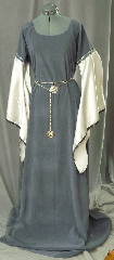 Gown ID:G684, Gown Color:Grey/Blue, Style:12th Century, Sleeve:Long Drop Sleeve in white cotton<br>with Silver Blue Running Vine trim at bicep<br>and narrow black lace at wrist, Trim:Silver Blue Running Vine trim at bicep<br>and narrow black lace at wrist, Neckline Type:Scoop, Fabric:Polyester Moleskin, Sleeve Length:29&quot;, Back Length:65&quot;.