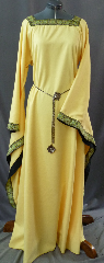 "Gown ID:G693, Gown Color:Yellow, Style:12th Century, Sleeve:Long Drop Sleeve with Paisley Diamond trim on edge, Trim:Paisley Diamond trim on neckline and sleeve edge, Neckline Type:Square with Paisley Diamond trim, Fabric:Corded Polyester, Sleeve Length:32"", Back Length:60""."