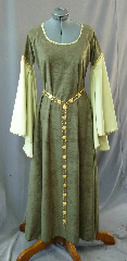 "Gown ID:G697, Gown Color:Green with Light Green Sleeves, Style:12th Century, Sleeve:Long Drop Sleeve wirh gold trim at bicep and wrist, Trim:Gold metallic trim, Neckline Type:Scoop with gold trim, Fabric:Robe Velour, Sleeve Length:31"", Back Length:54""."