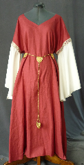 Gown ID:G698, Gown Color:Coral Red with cream sleeves, Style:12th Century, Sleeve:Long Drop Sleeve in cream polyester with<br>Medallion, Double, Narrow trim at bicep, Trim:Medallion, Double, Narrow (gold, red & white), Neckline Type:Sweetheart V, Fabric:Linen with polyester sleeves, Sleeve Length:31&quot;, Back Length:52&quot;.