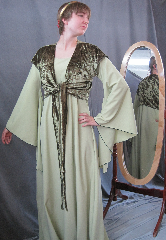 "Gown ID:G704, Gown Color:Pale Lime Green - comes with coordinated velour wrap, Style:12th Century, Sleeve:Long drop sleeve, Trim:None, Neckline Type:Ballet, Fabric:Polyester Micro Fiber, Sleeve Length:31"", Back Length:59""."