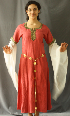 "Gown ID:G705, Gown Color:Salmon, Style:12th Century, Sleeve:Long Drop Sleeve with Red and Gold Vine trim bicep and keyhole neck, Trim:Red and Gold Vine Trim, Neckline Type:Keyhole with Red and Gold Vine trim, Fabric:Washed Linen, Back Length:47""."
