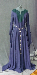 "Gown ID:G706, Gown Color:Blue with Pine Green contrast, Style:12th Century, Sleeve:Long drop sleeve, Trim:None, Neckline Type:Keyhole with pine green contrast fabric, Fabric:Tercel (cotton contrast), Sleeve Length:31"", Back Length:59""."