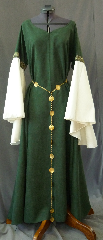 "Gown ID:G709, Gown Color:Hunter Green, Style:12th Century, Sleeve:Long Drop Sleeve in ivory polyester satin and Cross trim at bicep, Trim:Cross trim at bicep, Neckline Type:Sweetheart V, Fabric:Moleskin, Sleeve Length:30"", Back Length:56""."