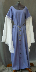"Gown ID:G710, Gown Color:Periwinkle Purple, Style:12th Century, Sleeve:Long Drop Split Sleeve in poly chiffon with Diamond and Flourishes trim at bicep, Trim:Diamond and Flourishes trim at bicep, Neckline Type:Ballet, Fabric:Moleskin, Sleeve Length:34"", Back Length:60""."
