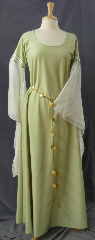 "Gown ID:G713, Gown Color:Light Peridot, Style:12th Century, Sleeve:Long Drop Split Sleeve in poly chiffon with Elizabethan Floral Gold/green trim at bicep, Trim:Elizabethan Floral Gold/green trim at bicep, Neckline Type:Scoop, Fabric:Light weight machine washable polyester, Sleeve Length:27"", Back Length:59""."