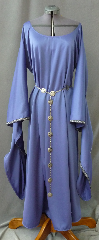 "Gown ID:G717, Gown Color:Periwinkle Purple / Cornflower Blue, Style:12th Century, Sleeve:Long Drop Sleeve with Florentine Narrow, Silver, Green, & Purple trim at edge, Trim:Florentine Narrow, Silver, Green, & Purple trim at sleeve edge, Neckline Type:Ballet, Fabric:Corded Polyester, Sleeve Length:31"", Back Length:51""."