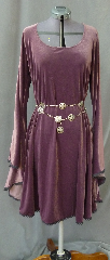 "Gown ID:G720, Gown Color:Mauve, Style:12th Century, Sleeve:Long Drop Sleeve with Narrow Black Lace at edge, Trim:Narrow Black Lace at sleeve edge, and skirt edge, Neckline Type:Scoop, Fabric:4-way Stretch Velvet, Sleeve Length:28.5"", Back Length:40""."
