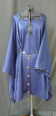 "Gown ID:G722, Gown Color:Periwinkle Purple / Cornflower Blue, Style:12th Century, Sleeve:Long Drop Sleeve with Florentine Narrow, Silver, Green, & Purple trim at edge, Trim:Florentine Narrow, Silver, Green, & Purple trim at sleeve edge, neck, Neckline Type:Square Keyhole, Fabric:Corded Polyester, Sleeve Length:31"", Back Length:40""."
