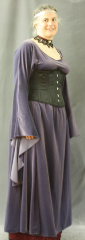 "Gown ID:G724, Gown Color:Dusty Grey-Purple, Style:12th Century (shown with circlet CT0466EL-ST, choker & corset D1142, NOT included), Sleeve:Long drop sleeve, Trim:None, Neckline Type:Scoop, Fabric:stretch velvet, Sleeve Length:34"", Back Length:55""."