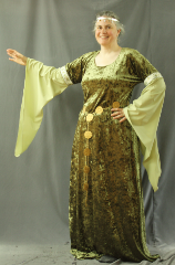 "Gown ID:G727, Gown Color:Olive green, pale green sleeves, Style:12th Century (shown with Round Venetian Filigree Plaque Belt BT0004BZ, and circlet  CT0466EL-ST, not included), Sleeve:Long Drop Sleeve with Elizabethan floral trim on the bicep, Trim:Elizabethan floral trim on bicep, Neckline Type:Scoop, Fabric:Hammered Stretch Velvet, Sleeve Length:36"", Back Length:63""."