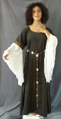 "Gown ID:G729, Gown Color:Dark Olive green with Sheer Georgette sleeves, Style:12th Century, Sleeve:Long Georgette Drop Sleeve with Tapestry Roses trim at bicep, Trim:Tapestry Roses trim on bicep, Neckline Type:Ballet, Fabric:Moleskin, Sleeve Length:34"", Back Length:54""."