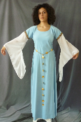 "Gown ID:G732, Gown Color:Baby Blue / Sky Blue with sheer Georgette sleeves, Style:12th Century, Sleeve:Long Georgette Drop Sleeve with Stylized Swirl brown trim at bicep, Trim:Stylized Swirl brown trim at bicep, Neckline Type:Ballet, Fabric:Moleskin [Note price reduction due to a small pull on right side of gown. See details], Sleeve Length:27"", Back Length:57""."
