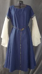 "Gown ID:G735, Gown Color:Blue, Style:12th Century, Sleeve:Long Drop Sleeve with 2-Tone Blue Floral trim at bicep, Trim:2-Tone Blue Floral trim at bicep, Neckline Type:Scoop, Fabric:Cotton Twill, Sleeve Length:29"", Back Length:45""."