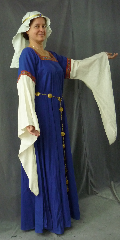 "Gown ID:G736, Gown Color:Royal Blue, Style:12th Century, Sleeve:Long Drop Sleeve in natural unbleached cotton with chevron trim at bicep, Trim:Chevron Trim on neckline and bicep., Neckline Type:Square, Fabric:Linen / Cotton, Sleeve Length:30"", Back Length:57.5."