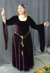 "Gown ID:G747, Gown Color:Purple, Style:12th Century, Sleeve:Long drop sleeve, Trim:None, Neckline Type:Scoop, Fabric:stretch velvet, Sleeve Length:32"", Back Length:54""."