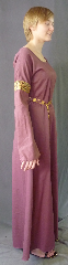 Gown ID:G757, Gown Color:Pale Plum, Style:12th Century<br>(shown with<br> Diamond Shield Plaque<br>Belt BT0014BZ<br>NOT included), Sleeve:Long Straight Sleeve with <br>Bullseye Jacquard trim at bicep, Trim:Bullseye Jacquard trim at bicep, Neckline Type:Ballet, Fabric:Cotton Sateen, Sleeve Length:35.5&quot;, Back Length:57&quot;.