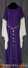 Gown ID:G761, Gown Color:Purple, Style:12th Century<br>(shown with<br>Holly Leaf Plaque<br>Belt BT0033BZ-ST<br>NOT included), Sleeve:Long Drop Slit Sleeve in white<br> with ribbon ties with<br>Stylized Swirl Gold and Blue<br>trim at bicep, Trim:Stylized Swirl Gold and Blue<br>trim at bicep, Neckline Type:Ballet, Fabric:Polyester Moleskin, Sleeve Length:33&quot;, Back Length:59&quot;.