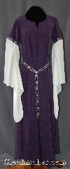 Gown ID:G762, Gown Color:Purple, Style:12th Century<br>(shown with<br>Diamond Shield Plaque<br>Belt BT0014BZ-ST<br>NOT included), Sleeve:Long Drop White Sleeve<br>with Formal Vine Silver/Purple<br>trim at bicep, Trim:Formal Vine Silver/Purple<br>trim at bicep, Neckline Type:Keyhole, Fabric:Polyester Moleskin, Sleeve Length:31.5&quot;, Back Length:55&quot;.