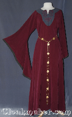 Gown ID:G767, Gown Color:Maroon, Style:12th Century, Sleeve:Long drop sleeve with grey edging, Trim:Horse knot embroidery<br>on bodice<br>no additional trim, Neckline Type:Keyhole with black contrast fabric<br>and knot embroidery, Fabric:Rayon Tensile<br>Machine washable, Sleeve Length:28.5&quot;, Back Length:56.5&quot;.