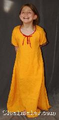 "Gown ID:G907, Gown Color:Marigold Yellow, Style:Child Dress 12th century, Sleeve:Short Sleeve with red gold and blue Celtic knot trim on bicep, Trim:red gold and blue Celtic knot trim on bicep, Neckline Type:Keyhole trimmed with red ties, Fabric:Linen, Sleeve Length:13"", Back Length:43""."