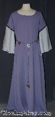Gown ID:G911, Gown Color:Lavender, Style:12th Century<br>(shown with Silvertone Plated Shell<br> Shield Accolade Belt #BT0020BZ-ST<br>sold separately), Sleeve:Long Drop White Polyester<br> shimmer Sleeve<br>with Florentine, Narrow<br>Gold, Green, & Purple<br>trim at bicep, Trim:Florentine, Narrow<br>Gold, Green, & Purple<br>trim at bicep, Neckline Type:Ballet, Fabric:Polyester Suiting, Machine Washable, Sleeve Length:29&quot;, Back Length:59&quot;.