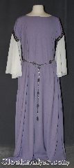 Gown ID:G912, Gown Color:Lavender, Style:12th Century<br>(shown with Silvertone Snowflake Plaque<br>Belt #BT0040ST<br>sold separately), Sleeve:Long Drop White Sleeve<br>with Floral Scroll<br>Purple/Black<br>trim at bicep, Trim:Floral Scroll<br>Purple/Black<br>trim at bicep, Neckline Type:Ballet, Fabric:Polyester Suiting, Machine Washable, Sleeve Length:26&quot;, Back Length:58&quot;.