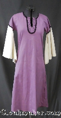 Gown ID:G914, Gown Color:Light Purple, Style:Youth 12th century gown, Sleeve:Long Drop White Sleeve<br>with black lace trim<br>on bicep, Trim:Black lace at bicep and neck, Neckline Type:Keyhole trimmed with black lace, Fabric:Cotton Blend<br>Machine Washable, Back Length:44&quot;.