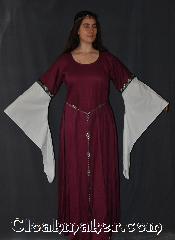 Gown ID:G916, Gown Color:Orchid Purple, Style:12th Century<br>(circlet and Simple Oak Leaves<br>Chain Belt Item<br>#BT0013ST not included ), Sleeve:Long Drop White Sleeve<br>with Stylized Swirl<br>Gold & Blue trim<br>on bicep, Trim:Stylized Swirl Gold & Blue trim on bicep, Neckline Type:Scoop, Fabric:Linen<br>Machine Washable, Sleeve Length:31&quot;, Back Length:60&quot;.