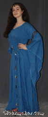 Gown ID:G918, Gown Color:Blue, Style:12th Century<br>(Pictured with circlet ct370213AU<br>and belt BT0013ST<br>sold separately), Sleeve:Long Drop Sleeve with<br>Florentine  Silver, Blue & Red<br>trim on bicep, Trim:Florentine  Silver, Blue & Red<br>trim on bicep, Neckline Type:V-Neck, Fabric:Linen, Sleeve Length:29&quot;, Back Length:52.5&quot;.