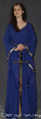 Gown ID:G920, Gown Color:Purple, Style:12th Century<br>(Pictured with circlet CT270258th<br>and belt BT0033BZ-ST<br>sold separately), Sleeve:Long Drop Sleeve with<br>Celtic Knot on Black (Gold/Purple)<br>trim on sleeve edge, Trim:Celtic Knot on Black (Gold/Purple)<br>trim on sleeve edge, Neckline Type:V-Neck, Fabric:Linen, Sleeve Length:28.5&quot;, Back Length:58&quot;.