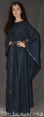Gown ID:G923, Gown Color:Steel Blue, Style:12th Century, Sleeve:Long Drop Sleeve with<br> Florentine, Narrow Silver, blue, & red<br>trim on sleeve edge, Trim:Florentine, Narrow Silver, blue, & red<br>on sleeve edge, Neckline Type:Scoop, Chest Measurement:47&quot;, Sleeve Length:32&quot;, Back Length:61&quot;.
