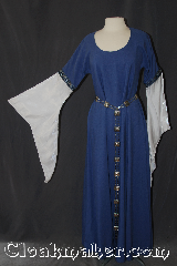 Gown ID:G925, Gown Color:Periwinkle Purple, Style:12th Century<br>(shown with belt #BT0033BZ-ST<br>and Cloak 3117 NOT included), Sleeve:Long Drop Sleeve with<br>2-Tone Blue Floral trim<br>on sleeve edge, Trim:2-Tone Blue Floral trim<br>on sleeve edge, Neckline Type:Scoop, Fabric:Wool blend / poly shimmer, Sleeve Length:30&quot;, Back Length:53.5&quot;.