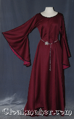 Gown ID:G926, Gown Color:Maroon, Style:12th Century<br>with belt #BT0007ST<br>sold separately, Sleeve:Long Drop Sleeve with<br>Black lace at sleeve edge, Trim:Black lace at sleeve edge, Neckline Type:Scoop with black bias trim, Fabric:slight scattered pilling<br>Machine washable line dry, Sleeve Length:28&quot;, Back Length:59&quot;.