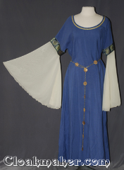 Gown ID:G927, Gown Color:Periwinkle blue, Style:12th Century<br>(shown with<br>Alternating Quatrefoil<br>and Sun Filigris Chain belt<br>Belt #BT00066<br>sold separately), Sleeve:Cream yellow bell organza, Trim:Blue Gold floral box<br>Gold braid on neck, Neckline Type:Scoop with gold braid, Fabric:Rayon Poly Twill, Sleeve Length:36&quot;, Back Length:53&quot;.