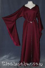 Gown ID:G928, Gown Color:Maroon, Style:12th Century<br>with belt #BT0016BZ-ST<br>sold separately, Sleeve:Long Drop Sleeve with<br>Maroon detail at sleeve edge, Trim:Maroon detail at sleeve edge, Neckline Type:V-Neck with black bias trim, Fabric:slight scattered pilling<br>Machine washable line dry, Sleeve Length:30&quot;, Back Length:59&quot;.